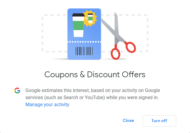 Turn off interests from your Google ads profile