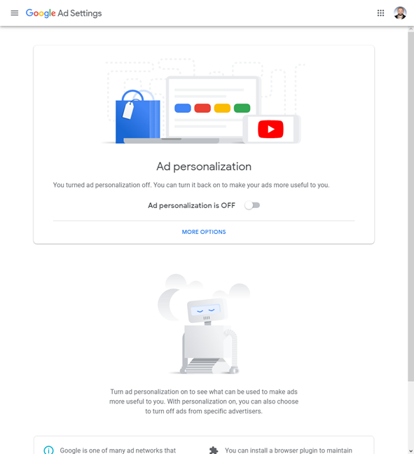 Ad personalization turned off