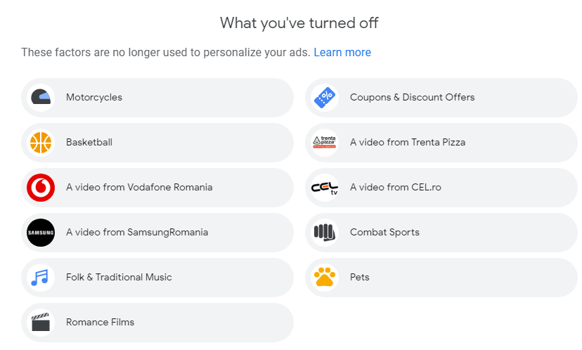 The factors that are no longer used to personalize Google's ads