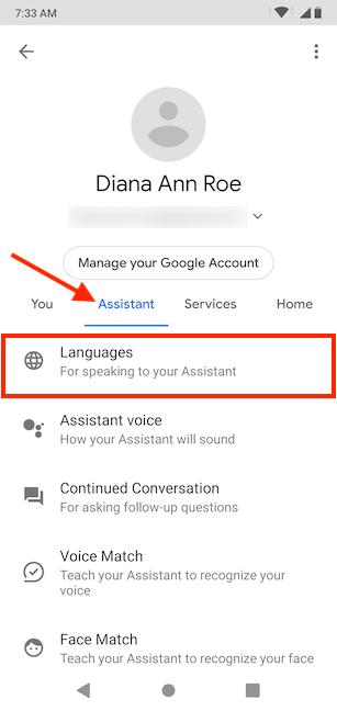Tap on Languages