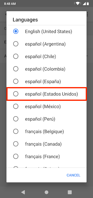 Choose your preferred language from the list