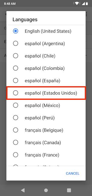 Elija su idioma preferido de la lista