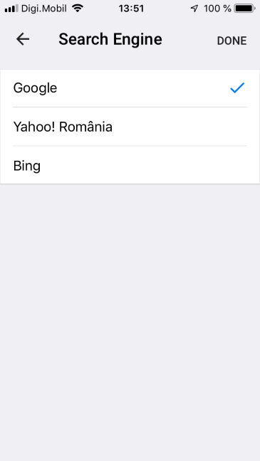 Select the search engine for Google Chrome for iOS