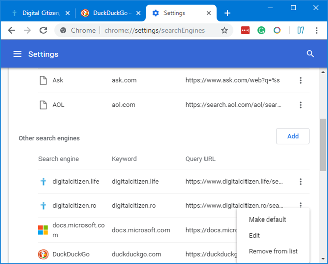 Set a new search engine in Google Chrome for Windows