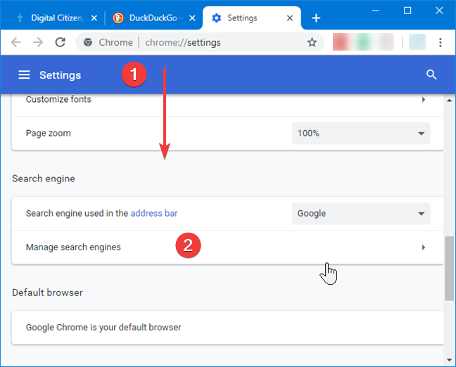 Manage search engines in Google Chrome for Windows