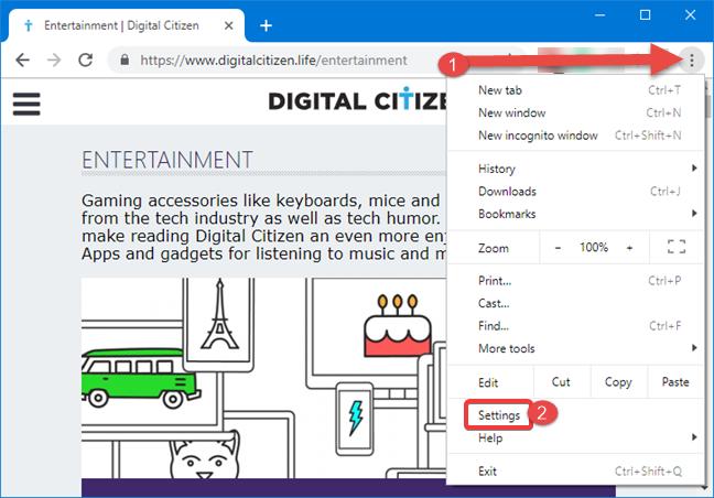 Open Google Chrome settings in Windows