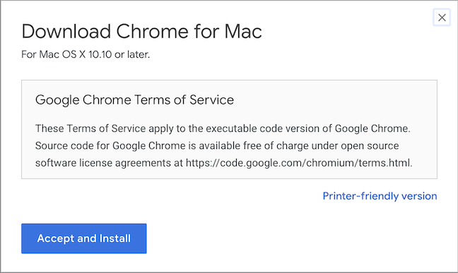 Accept the Terms of Service to install Chrome