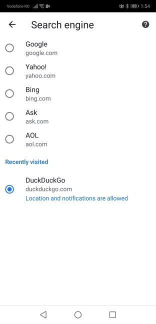 Select DuckDuckGo as the search engine for Google Chrome for Android