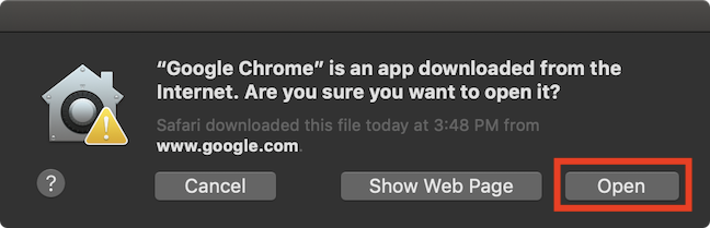 Warning about Chrome being downloaded from the Internet