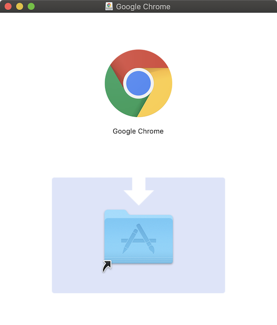 Pop-up showing the icons for Chrome and the Applications folder