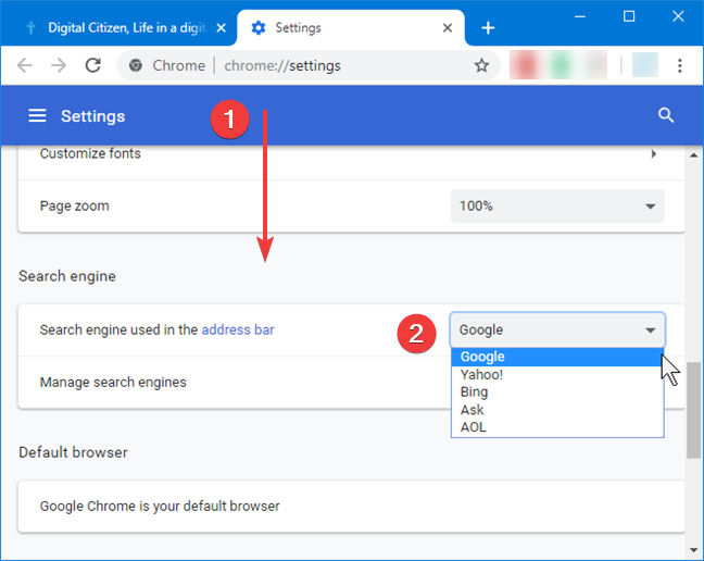 Change the search engine in Google Chrome for Windows