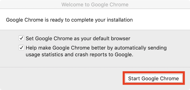 Completing Google Chrome installation