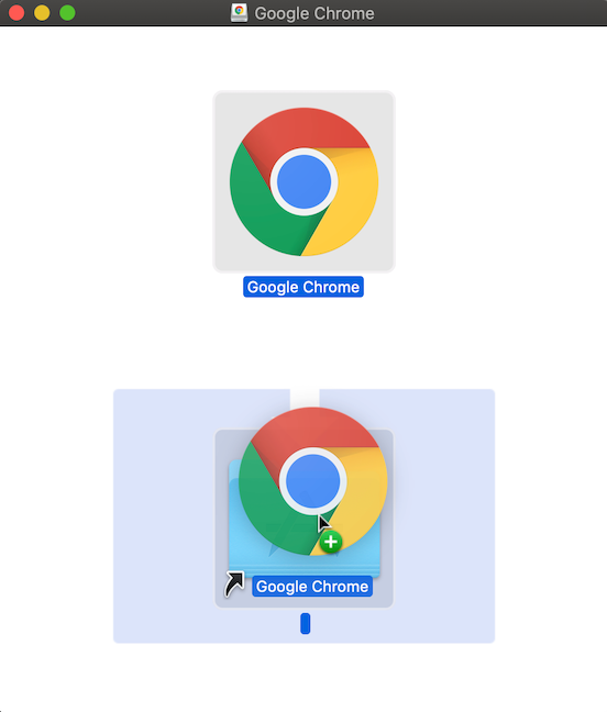 Dragging and dropping Google Chrome into Applications