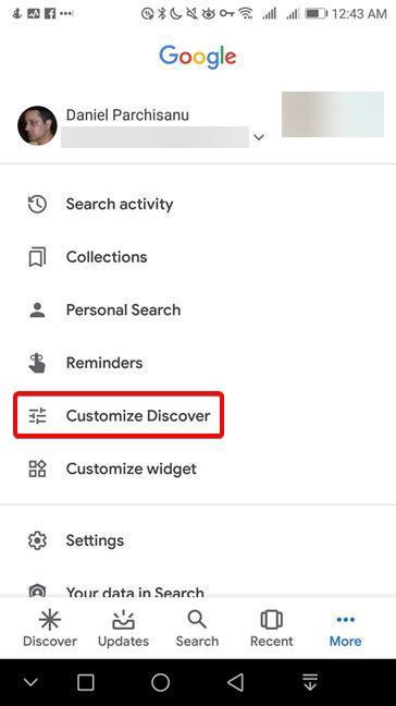 Customize Discover in Google app