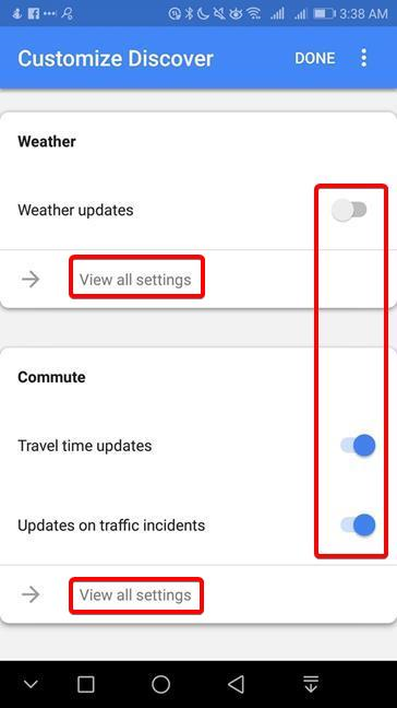 Customize the Weather and the Commute in Google Discover