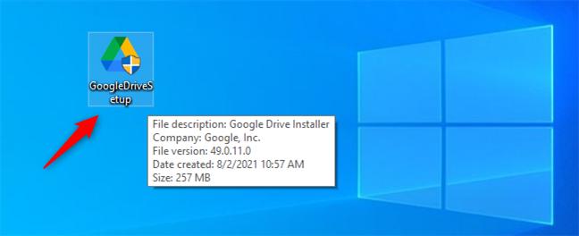 The GoogleDriveSetup.exe installer file