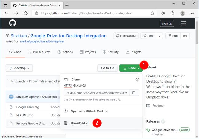 Downloading Google Drive for desktop integration files