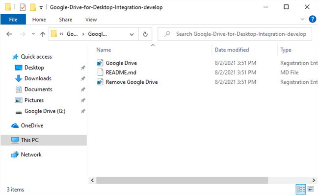 The files you need for adding Google Drive to File Explorer