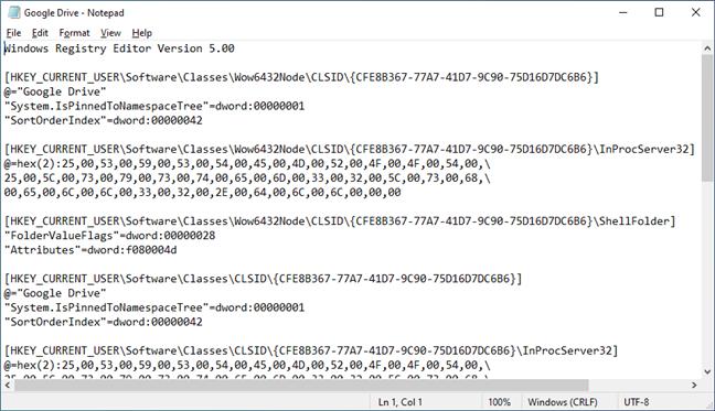 What the Google Drive.reg file looks like