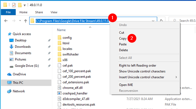 Copying the full path to the Google Drive for desktop app folder