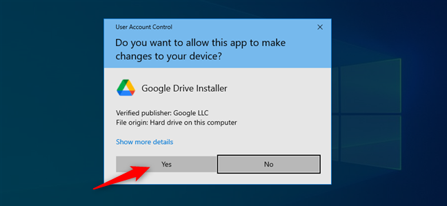 Approving the installation of Google Drive for desktop