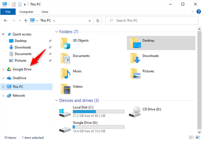 Google Drive is now shown as a separate entity in the navigation panel from File Explorer