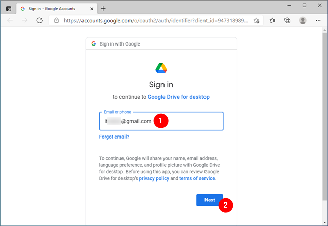 Entering the Gmail address
