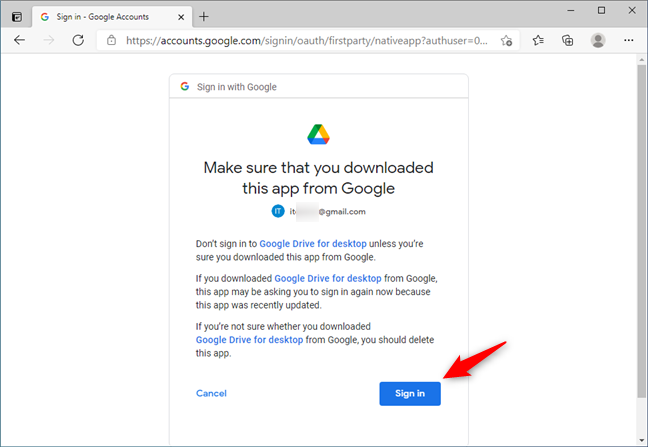Confirming that you've downloaded Google Drive for desktop from Google