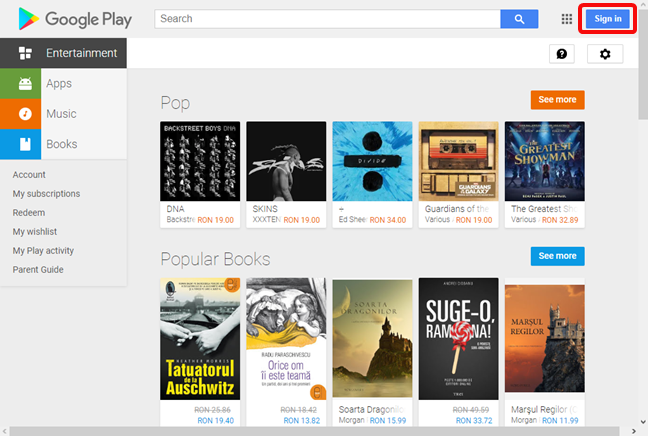 Sign in for Google Play Store in a browser