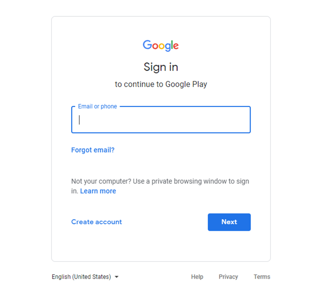 Log in for a Google account
