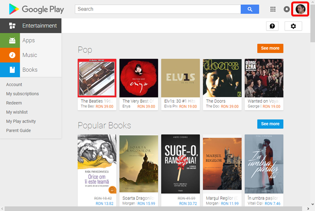 Google account in the Google Play Store