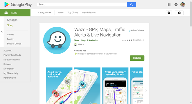 The Waze app in the Google Play Store