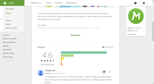 Description, rating, and user comments for Waze in Google Play Store