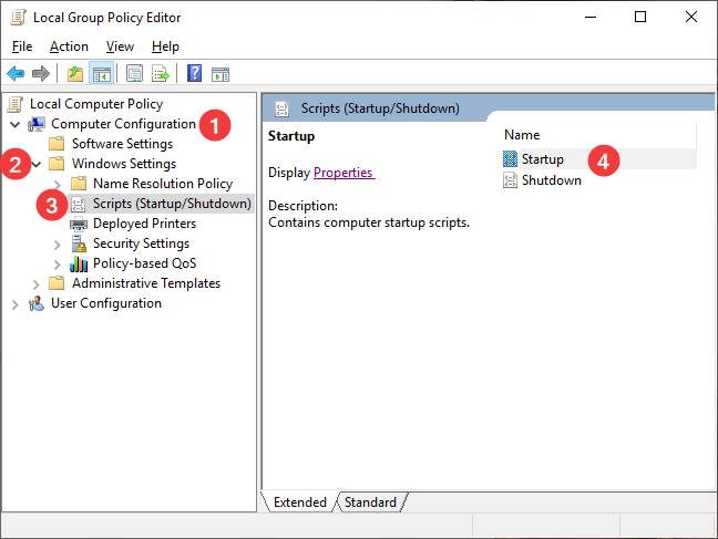Startup and Shutdown Scripts in Local Group Policy Editor