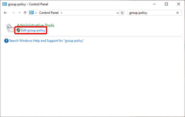 Search for Local Group Policy Editor in Control Panel