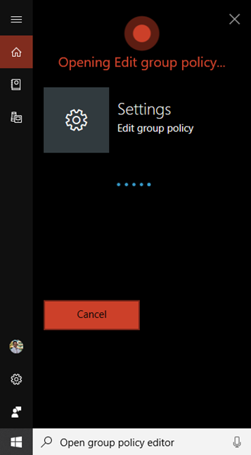 Ask Cortana to open Local Group Policy Editor