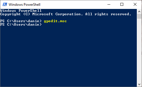 Open Local Group Policy Editor from the command line