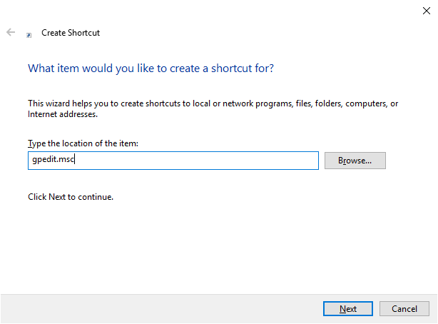 Create a shortcut for Local Group Policy Editor
