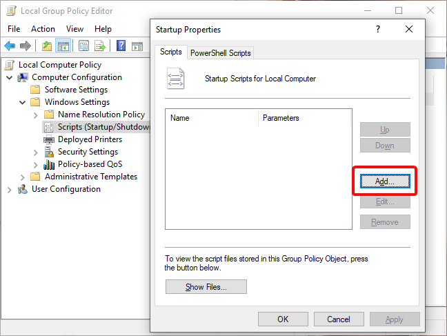 Add scripts to Startup in Local Group Policy Editor