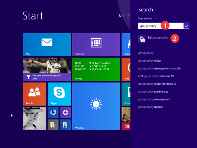 Search for Local Group Policy Editor in Windows 8.1