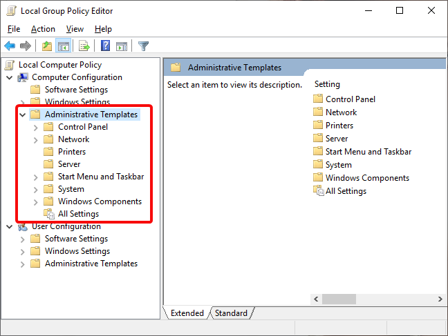 Administrative Templates in Local Group Policy Editor