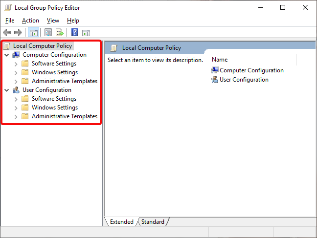 Local Group Policy Editor categories