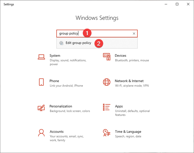 Search for Local Group Policy Editor in Windows 10 Settings