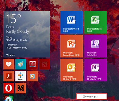 groups, shortcuts, Windows 8.1