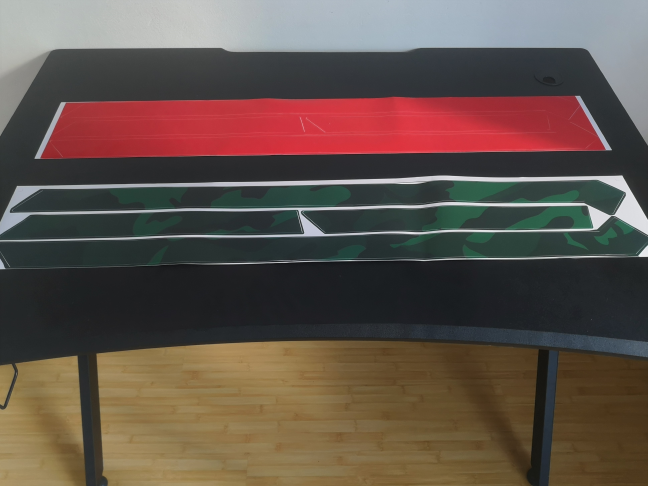 The stickers for the Trust GXT 711 Dominus gaming desk