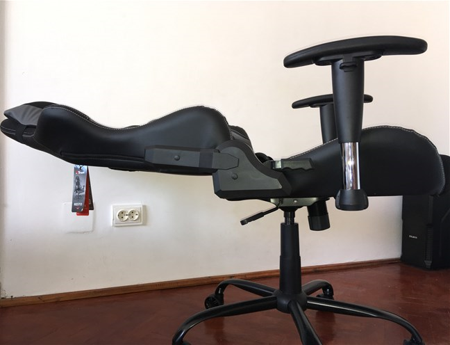 The Trust GXT 707 Resto V2 gaming chair with its backrest set horizontally