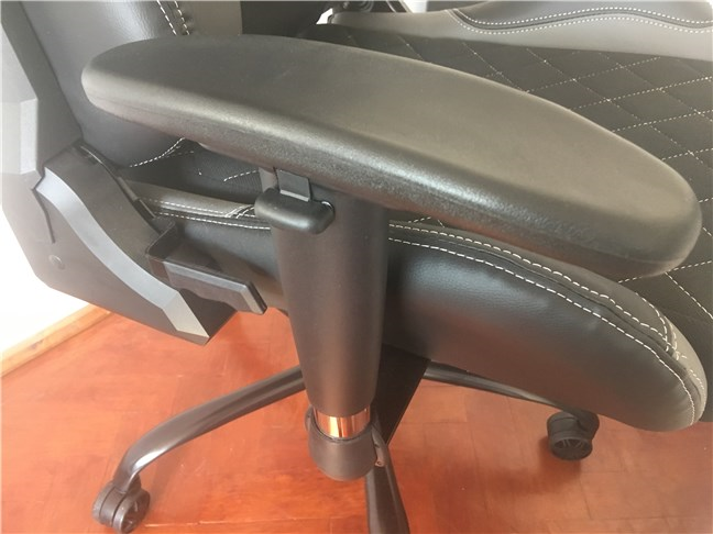 One of the armrests on the Trust GXT 707 Resto V2 gaming chair