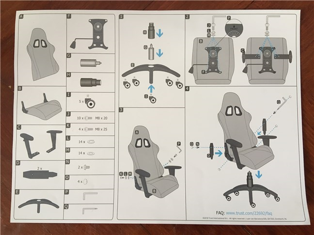 The user manual for the Trust GXT 707 Resto V2 gaming chair