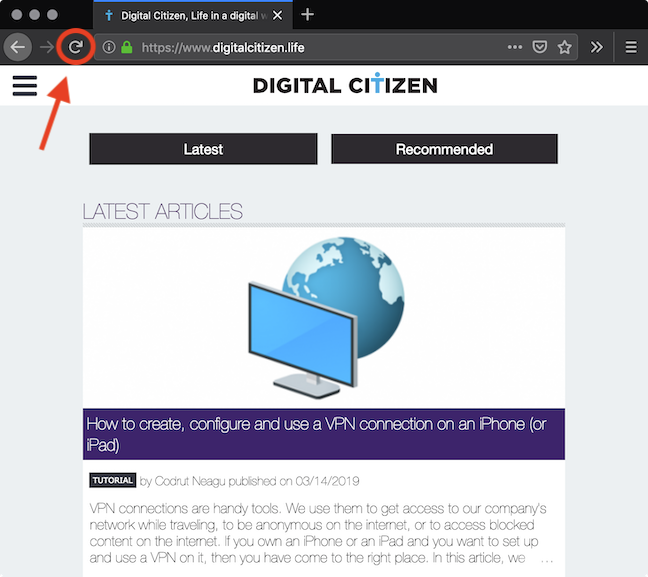 The <em>Refresh</em> button in Mozilla Firefox
