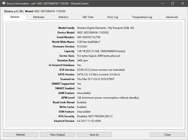 GSmartControl showing identity details about an HDD